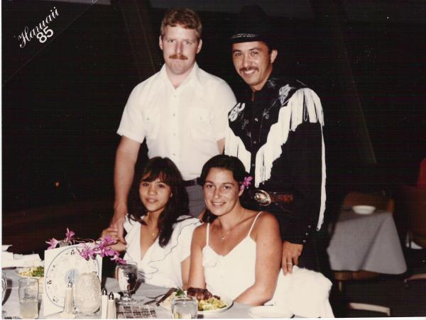 Me when I was 17, with Hubby, Brother and his first Wife.